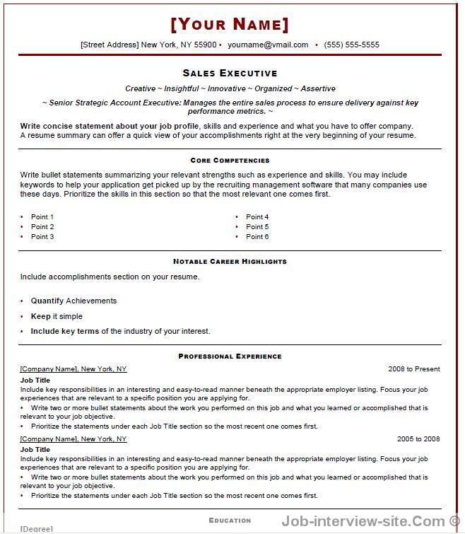Free 40 Top Professional Resume Templates - professional it resume format