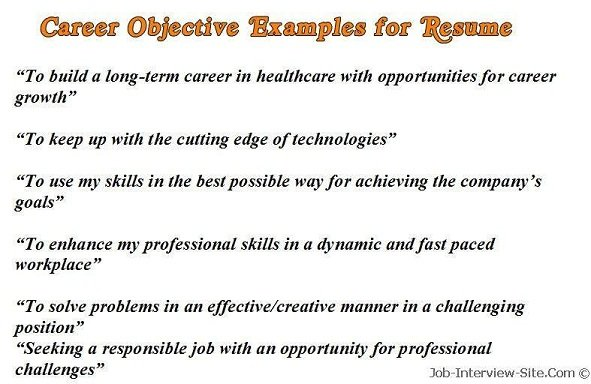 Sample Career Objectives \u2013 Examples for Resumes - job objectives in resume
