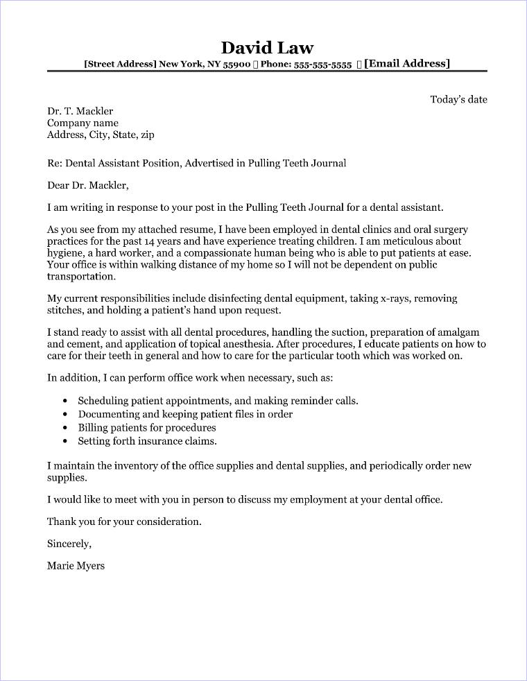 Dental Assistant Cover Letter Sample - dental assistant cover letter