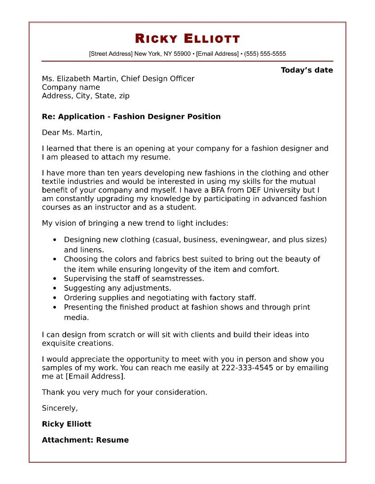 sample of cover letter for applying job