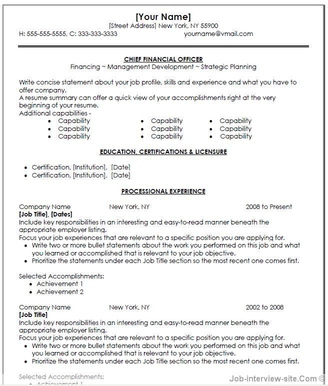 Cfo Resume Examples - Free Professional Resume Templates Download