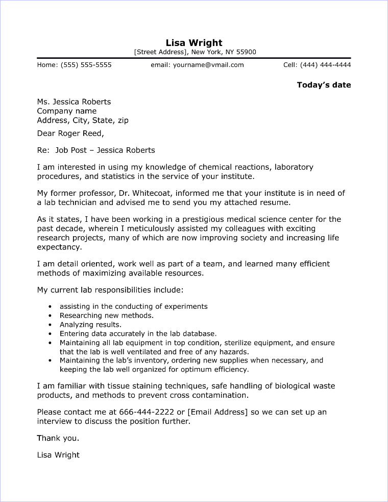 Resume Cover Letter For Lab Technician - Resume Examples | Resume ...