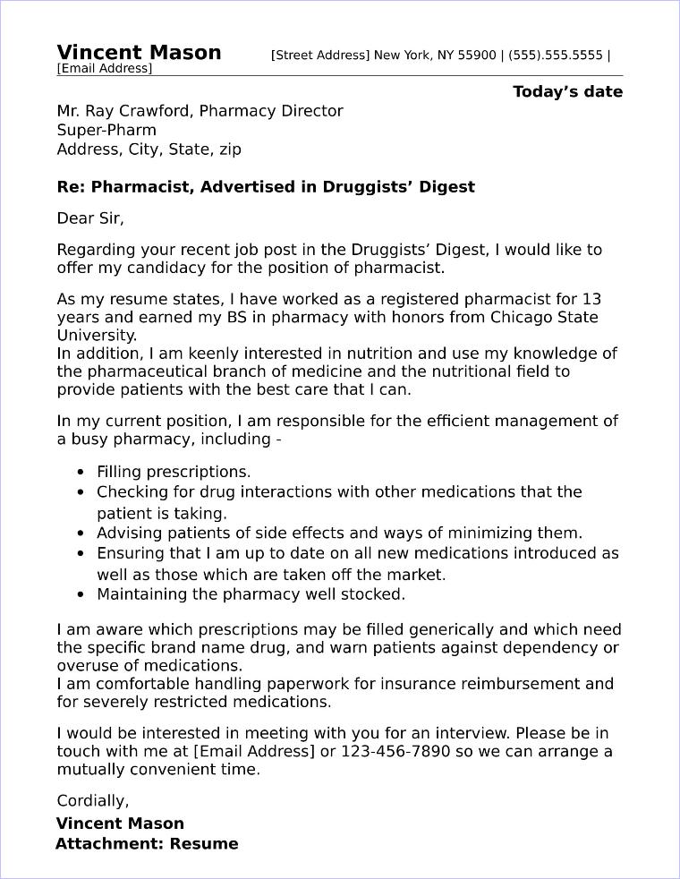 pharmacist resume cover letter template