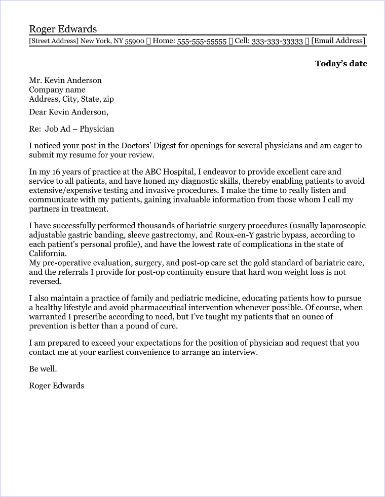 Sample Cover Letter For Physician Assistant - Resume Examples ...