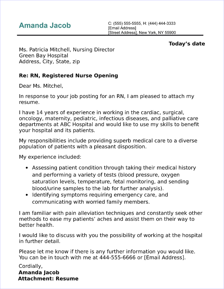 resume cover letter for nursing job