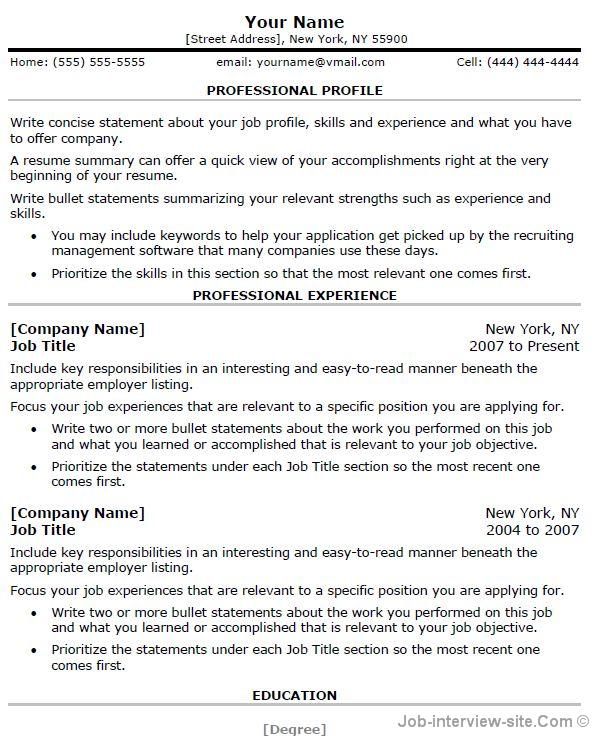 Word Resumes Free Top Professional Resume Templates Word Template - Good Words For A Resume