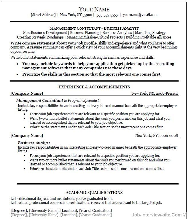 professional project manager resume template free download