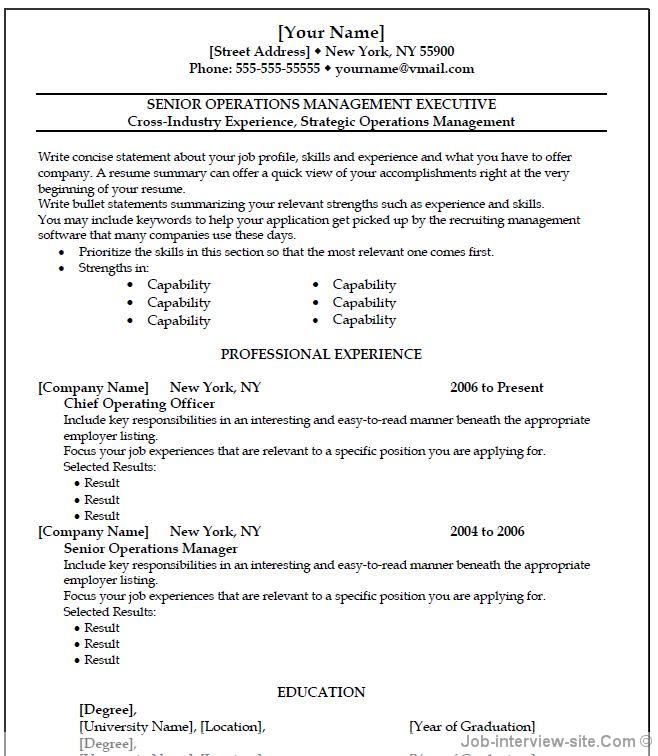general resume template microsoft word - Selol-ink