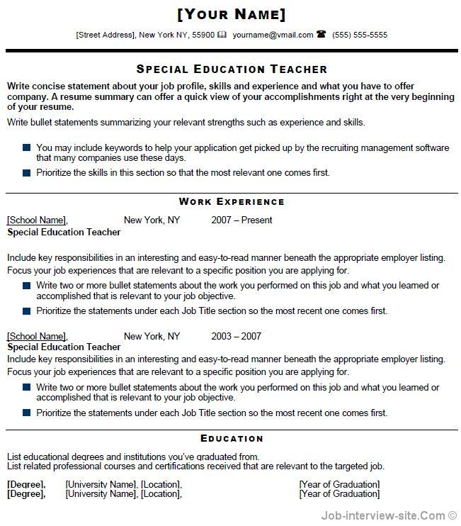 Free 40 Top Professional Resume Templates - Resume Format For Teaching Profession