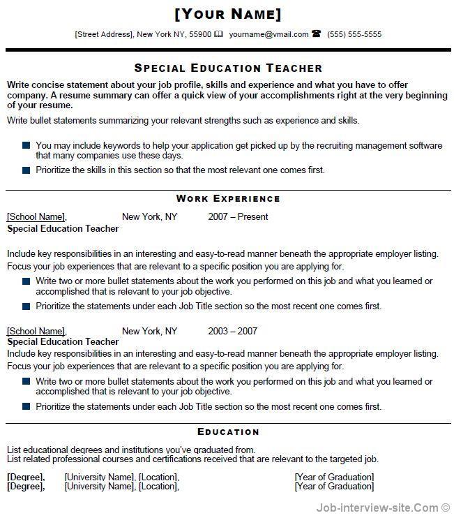 sample elementary special education teacher resume