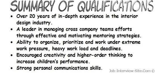 Resume Qualifications Examples Resume Summary of Qualifications - job qualifications list