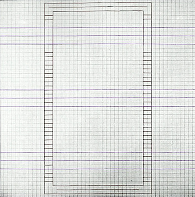 Jo Baer - Graph-paper Painting (Vertical Rectangle) (from a set of 4) - large square graph paper