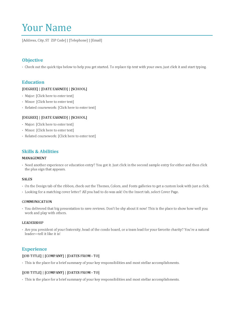 resume format work history professional resume cover letter sample