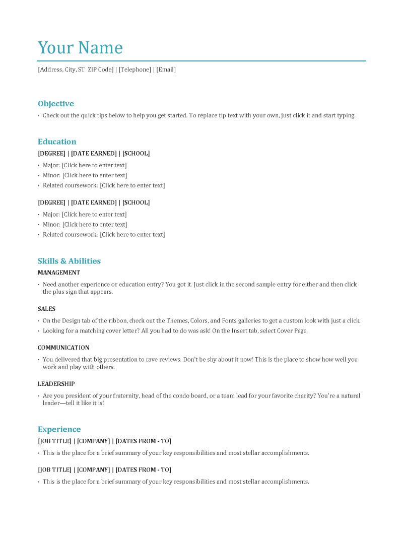resume format educational qualification