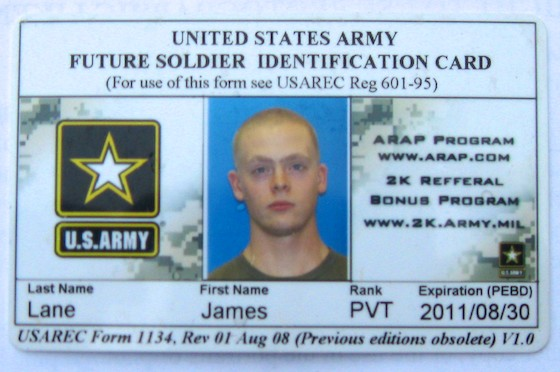 Northlands Job Corps Students Considering the Military Option - student identification card