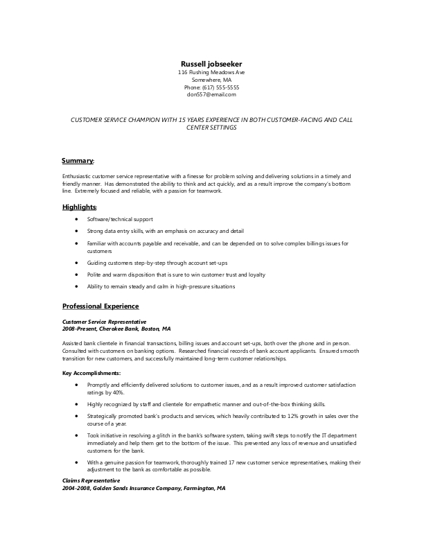 Sample Resume for Customer Service Representative Jobs