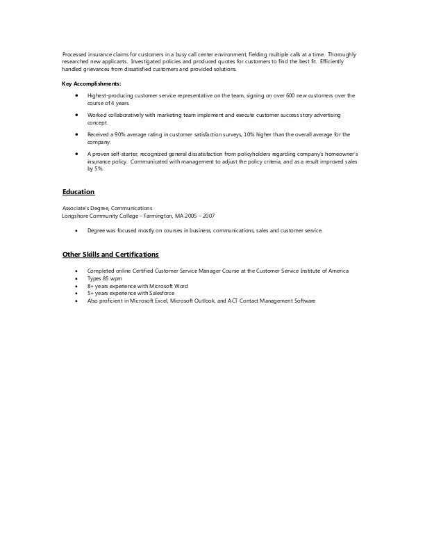 Sample Resume for Customer Service Representative Jobs