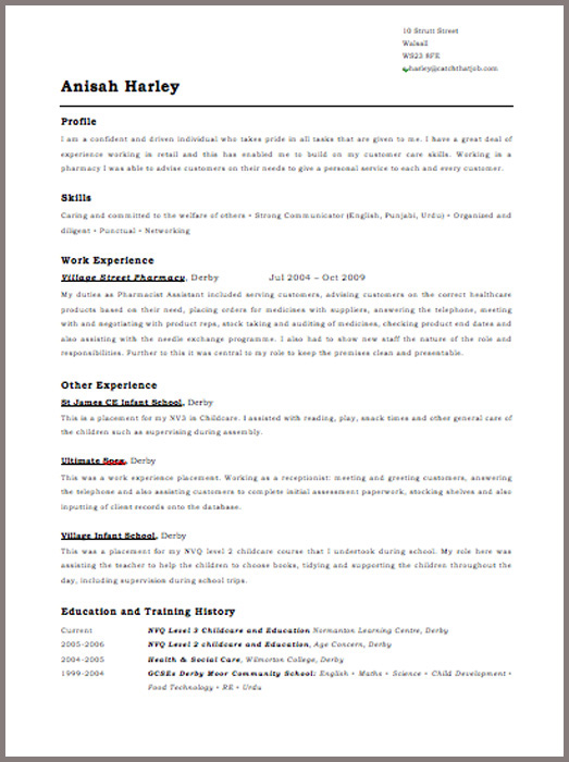 template for cv uk - Roho4senses - Cv Forms Samples
