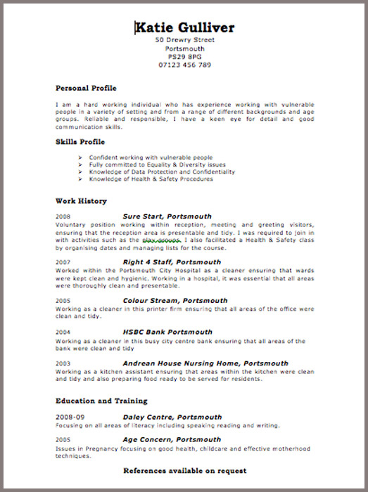 Example Good Resume Uk Example Good Resume Uk Resumes Sample Resume Resume Template Resume Example Cv Examples Resume Examples By