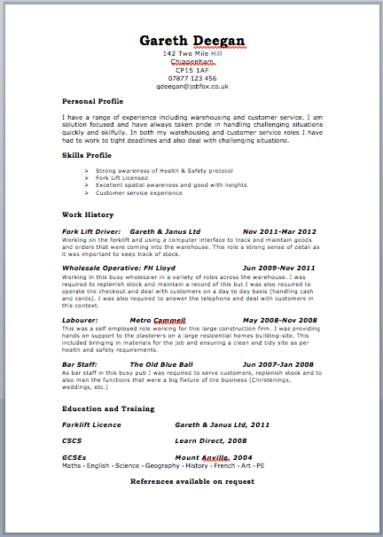 Example Cv For England | Cover Letter Format German