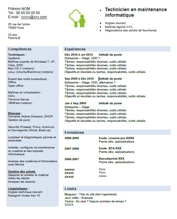 competence maintenance informatique cv