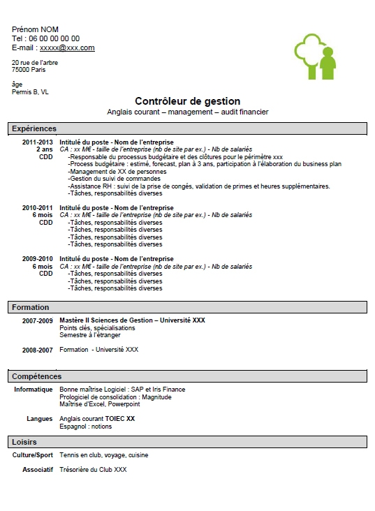 exemple de cv controleur de gestion senior
