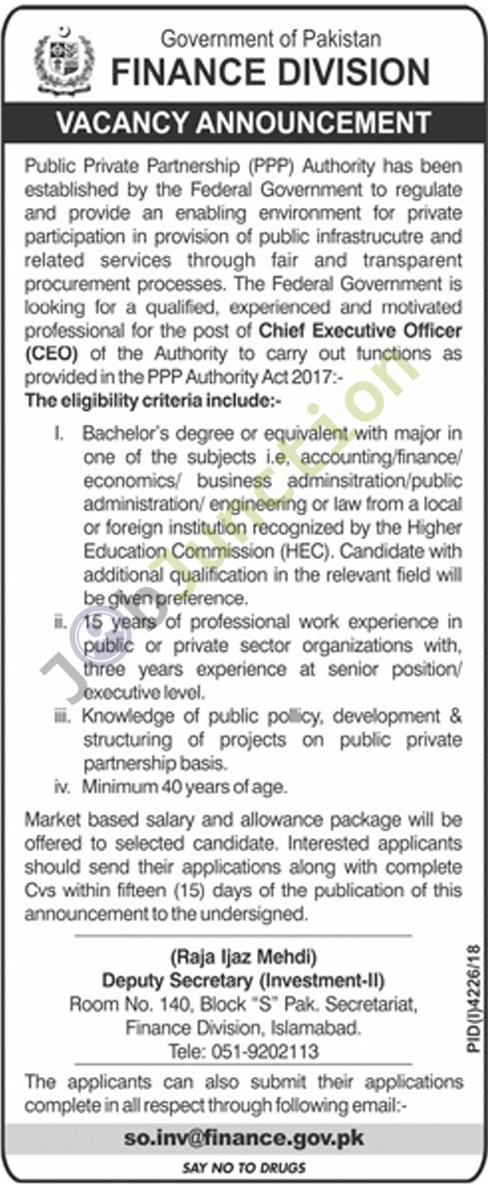 Chief Executive Officer Jobs in Finance Division Govt of Pakistan