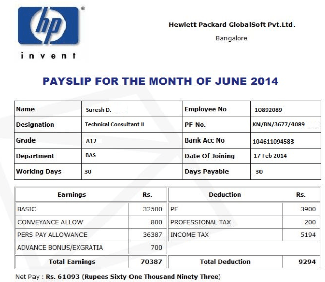 Doc603576 Payslip in Word Format Payslip Template Format In – Payslip Template Free Download