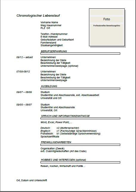 model cv in limba germana completat