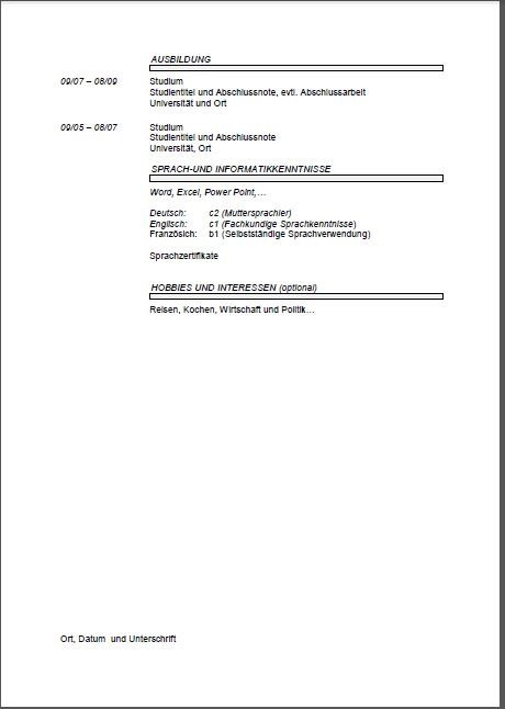 German CV Template Lebenslauf - Joblers - cv document