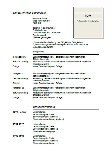 example german cv