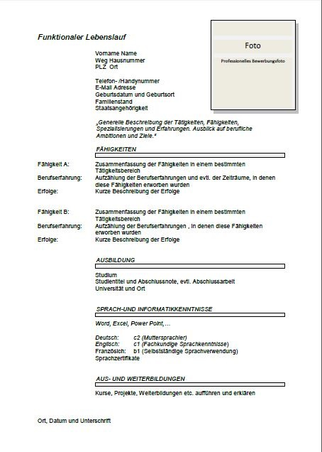 cv format in german sample