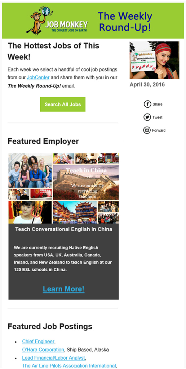 Newsletter Featured Employer Examples JobMonkey
