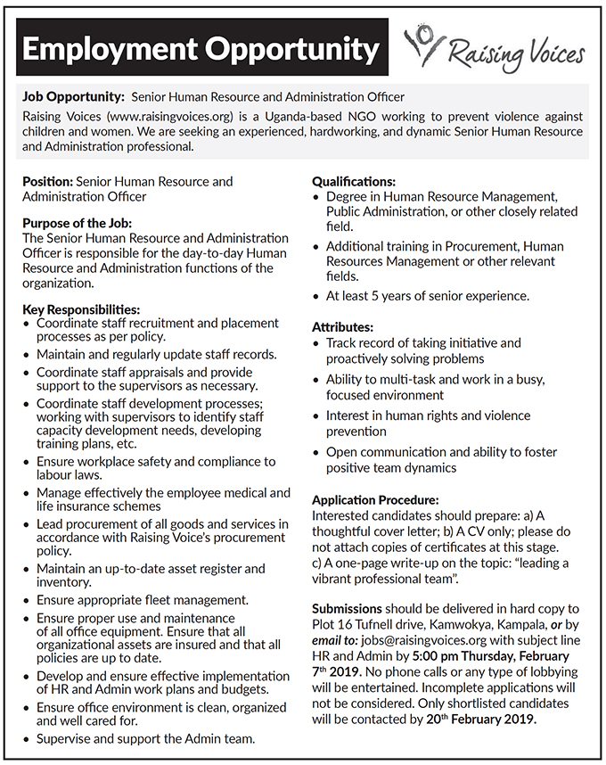 Human Resource Manager needed - New Vision Jobs - Jobs in Uganda