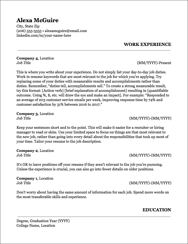 resume same title different jobs