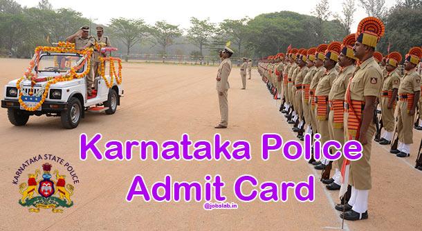 Karnataka Police Call Letter 2016 APC, CPC, KSRP 4350 Constable Posts