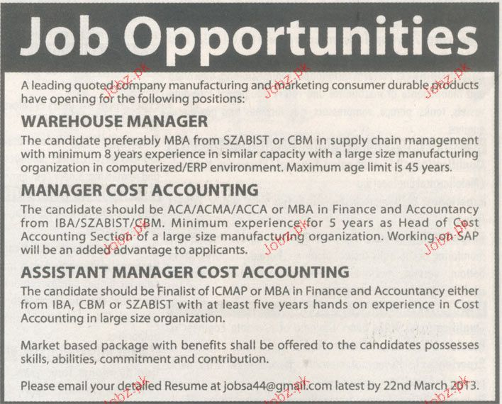 Warehouse Manager, Manager Cost Accounting Wanted 2017 Jobs - warehouse manager job description