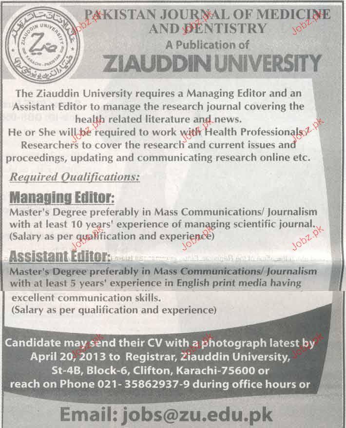 Managing Editor and Assistant Editors Job Opportunity 2019 Job