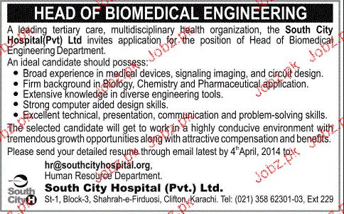 Head of BioMedical Engineering Job Opportunity 2018 Jobs Pakistan - biomedical engineering job description