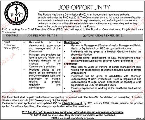 Chief Executive officers Job in The Punjab Health Care Commi 2019