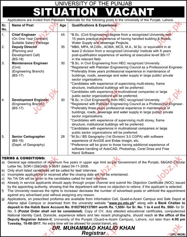 Chief Engineer Jobs In University Of The Punjab 2018 Jobs Pakistan