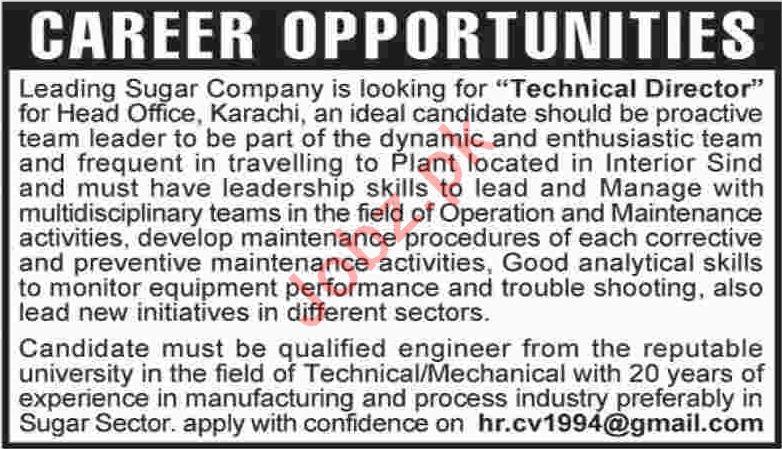 Technical Director Jobs in Karachi 2019 Job Advertisement Pakistan