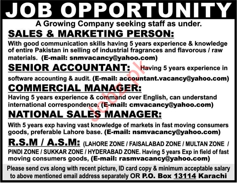 Accountant, Commercial Manager  Marketing Staff Jobs 2018 2019 Job