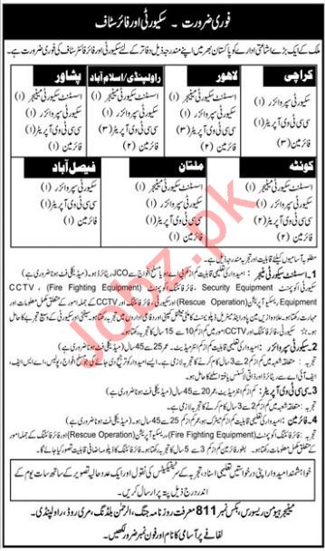 Daily Jang Newspaper Security Supervisor Jobs 2019 Job Advertisement