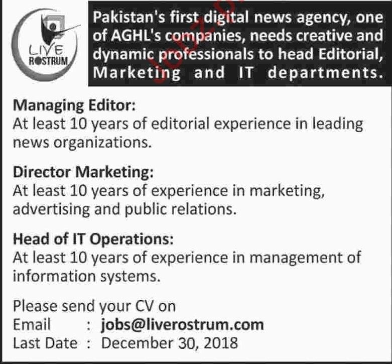Live Rostrum News Agency Managing Editor Jobs 2019 Job Advertisement