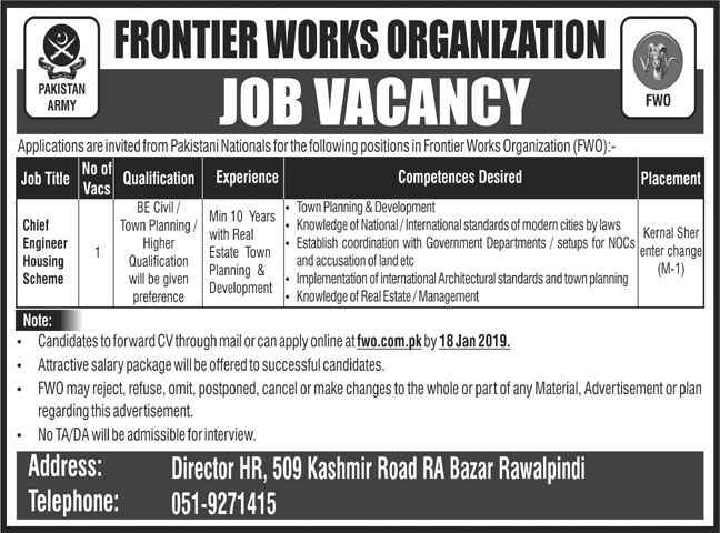 Frontier Works Organization FWO Chief Engineer Jobs 2019 Job