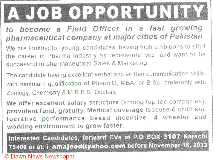 Pharmaceutical Sales  Marketing Staff Job Opportunity 2019 Job