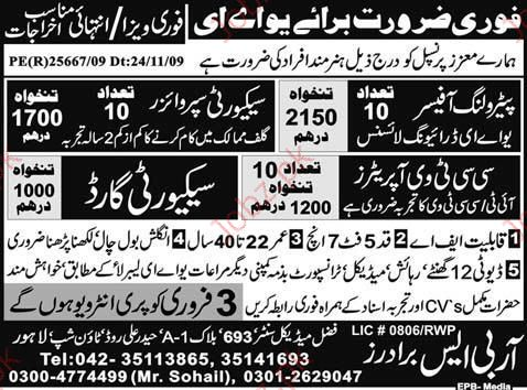 Petroleum Officer and CCTV Operator required 2018 Jobs Pakistan