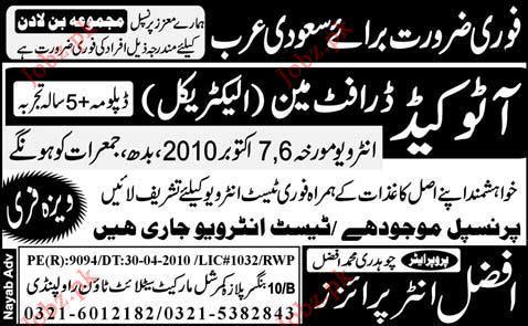 Auto Cad, Draftsman (Electrical) Job Opportunity 2019 Job