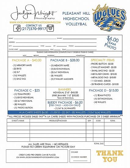 Printable Order Form - Teams - PHHS Volleyball - Jocelynn Wright